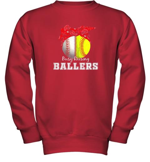 xl9s busy raising ballers softball baseball shirt baseball mom youth sweatshirt 47 front red