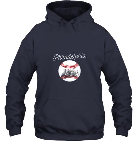 avzu philadelphia baseball philly tshirt ball and skyline design hoodie 23 front navy