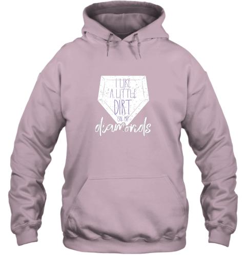 karm i like a little dirt on my diamonds baseball hoodie 23 front light pink