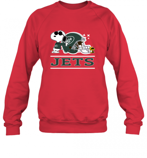 psyu the new york jets joe cool and woodstock snoopy mashup sweatshirt 35 front red