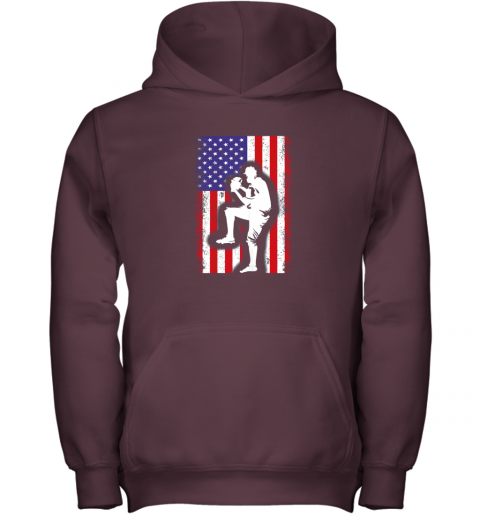 lbr0 vintage usa american flag baseball player team gift youth hoodie 43 front maroon