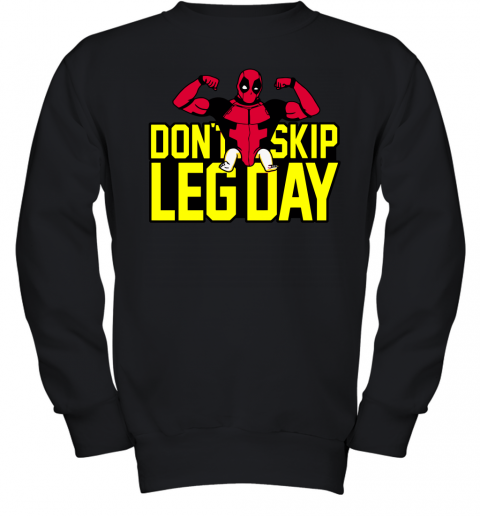 5hkx deadpool dont skip leg day workout at the gym shirts youth sweatshirt 47 front black