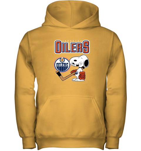55kv edmonton oilers ice hockey broken teeth snoopy nhl shirt youth hoodie 43 front gold