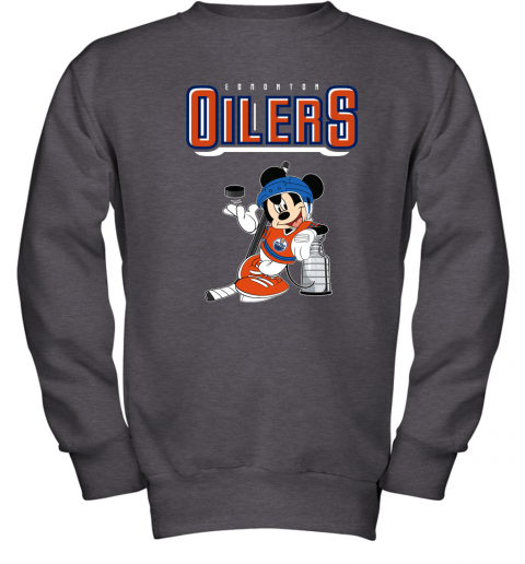 0ud6 mickey edmonton oilers with the stanley cup hockey nhl shirt youth sweatshirt 47 front dark heather