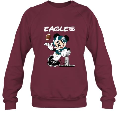 sq3t mickey eagles taking the super bowl trophy football sweatshirt 35 front maroon