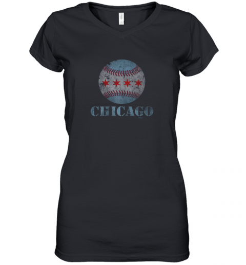 Vintage Chicago Baseball Flag Women's V-Neck T-Shirt