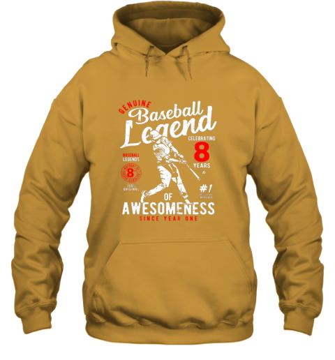 xu1r kids 8th birthday gift baseball legend 8 years hoodie 23 front gold