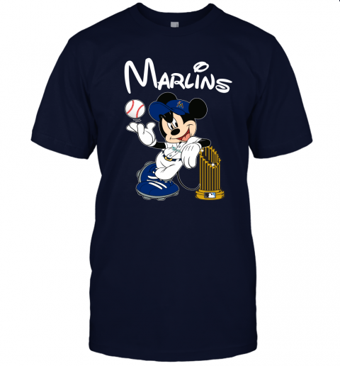 vx98 miami marlins mickey taking the trophy mlb 2019 jersey t shirt 60 front navy