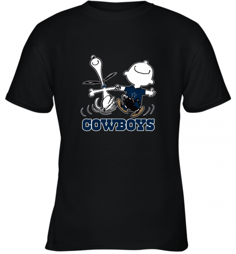 Snoopy And Charlie Brown Happy Dallas Cowboys Fans Youth T-Shirt