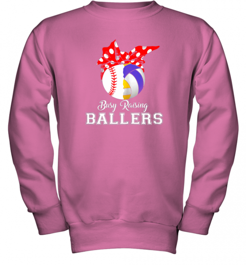 uisy baseball volleyball busy raising ballers shirt mothers day youth sweatshirt 47 front safety pink