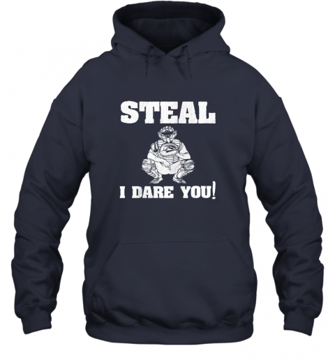 txuw kids baseball catcher gift funny youth shirt steal i dare you33 hoodie 23 front navy