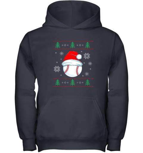 zjj9 ugly christmas baseball shirt boys kids ball santa pajama youth hoodie 43 front navy