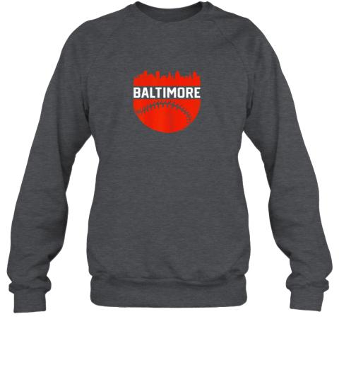 li17 vintage downtown baltimore maryland skyline baseball sweatshirt 35 front dark heather