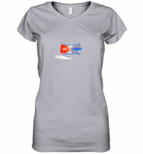o9xf vintage baseball cuba flag shirt cuban pride women v neck t shirt 39 front sport grey