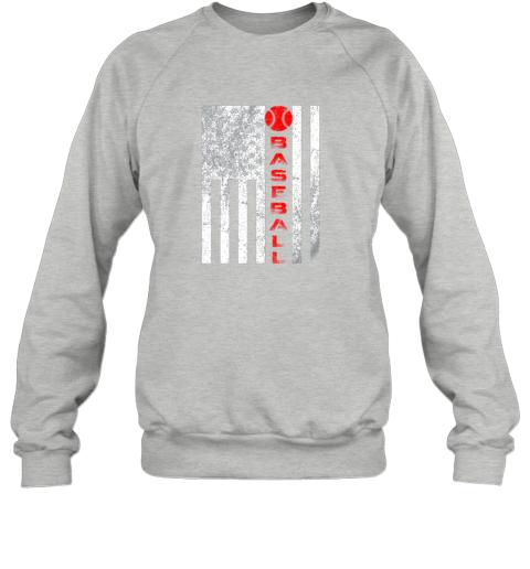75at usa red whitevintage american flag baseball gift sweatshirt 35 front sport grey
