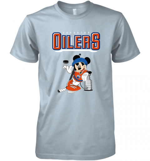 ozot mickey edmonton oilers with the stanley cup hockey nhl shirt premium guys tee 5 front light blue
