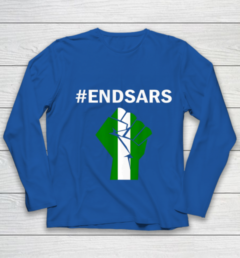 EndSARS End SARS Nigeria Flag Colors Strong Fist Protest Youth Long Sleeve 7
