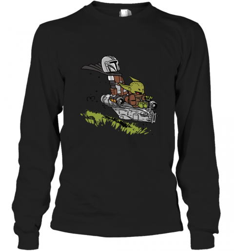 Baby Yoda And Mandalorian Calvin And Hobbes Long Sleeve T-Shirt