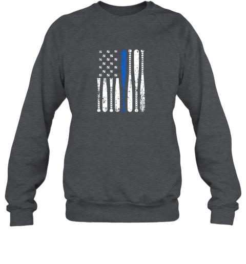 kazs thin blue line leo usa flag police support baseball bat sweatshirt 35 front dark heather