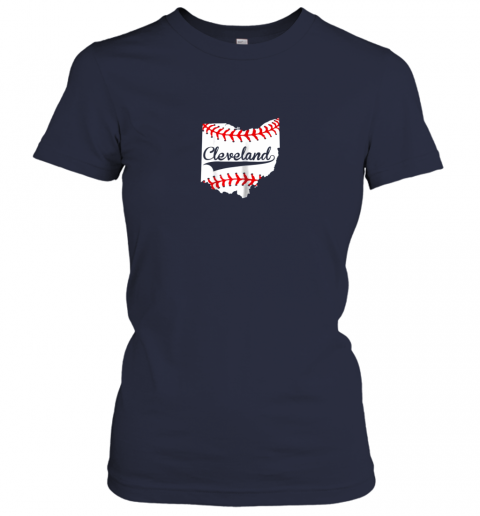d4yr cleveland ohio 216 baseball ladies t shirt 20 front navy