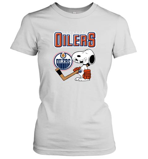 mutj edmonton oilers ice hockey broken teeth snoopy nhl shirt ladies t shirt 20 front white