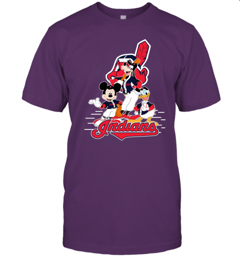 j8x3 cleveland indians mickey donald and goofy baseball jersey t shirt 60 front team purple