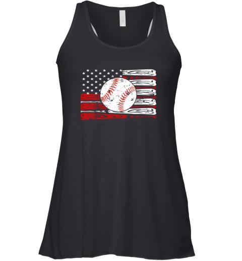 Vintage Baseball American Flag Shirt 4th Of July Gifts Racerback Tank