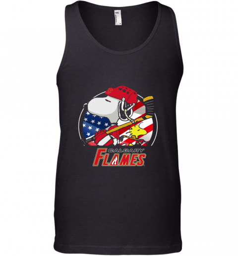 Calgary Flames   Snoopy And Woodstock NHL Tank Top