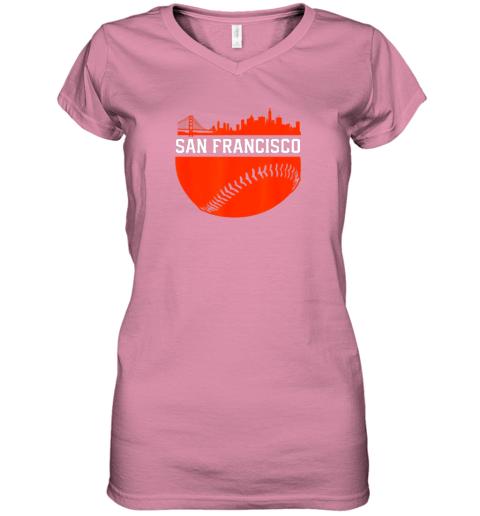 dgjs san francisco baseball vintage sf the city skyline gift women v neck t shirt 39 front azalea