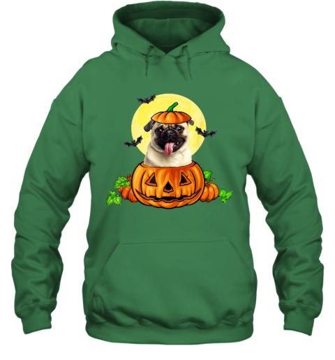 Pug Dog Witch Halloween Pumpkin Gift Hoodie