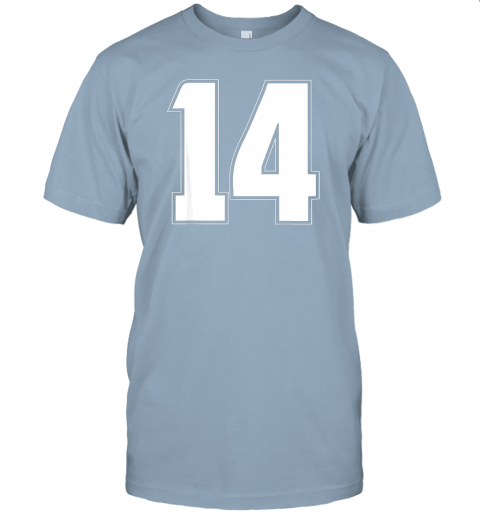 6114 halloween group costume 14 sport jersey number 14 14th bday jersey t shirt 60 front light blue