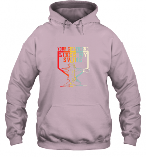 xe2m baseball your girlfriend likes my swing gift hoodie 23 front light pink