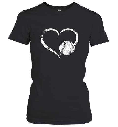 I Love Baseballl Funny Baseball Lover Heartbeat Women's T-Shirt