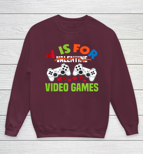 Funny Video Games Lover Valentine Day Youth Sweatshirt 4