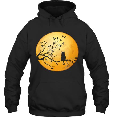 Silhouette Cat in Tree Full Moon Halloween Hoodie