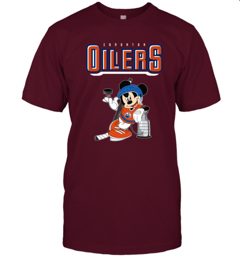 77lk mickey edmonton oilers with the stanley cup hockey nhl shirt jersey t shirt 60 front maroon