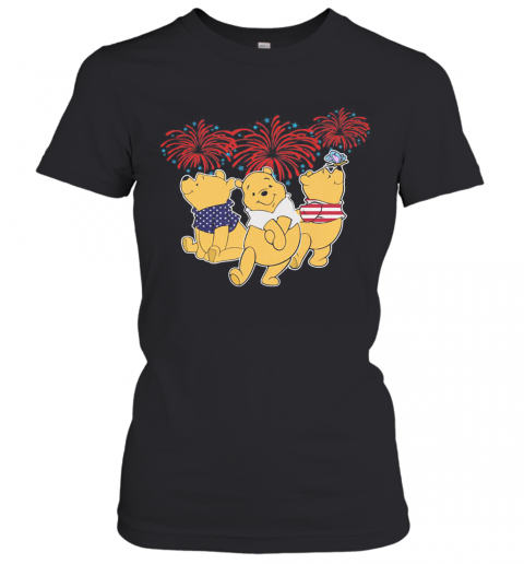 Pooh Firework American Flag Independence Day Women's T-Shirt