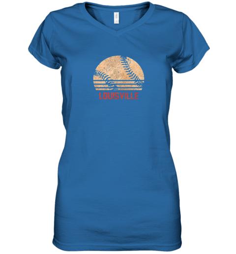 hr0v vintage baseball louisville shirt cool softball gift women v neck t shirt 39 front royal