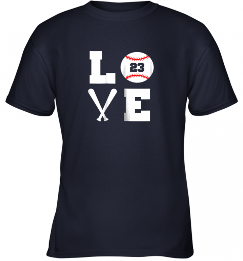 uams i love baseball player number 23 gift shirt youth t shirt 26 front navy