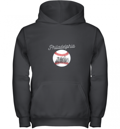 Philadelphia Baseball Philly Tshirt Ball and Skyline Design Youth Hoodie