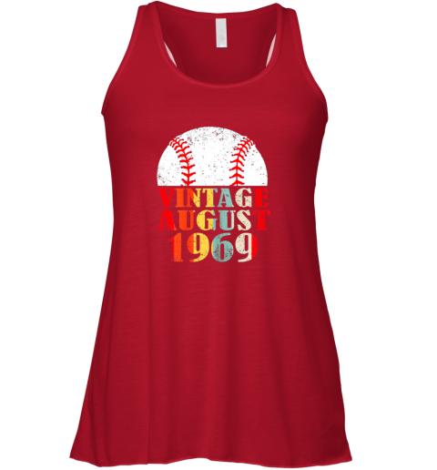 1rw8 born august 1969 baseball shirt 50th birthday gifts flowy tank 32 front red