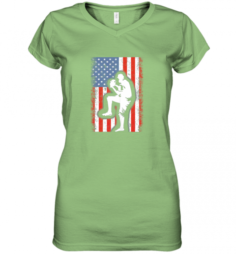 8j68 vintage usa american flag baseball player team gift women v neck t shirt 39 front lime