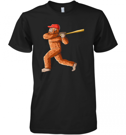 Bigfoot Baseball Sasquatch Playing Baseball Player Premium Men's T-Shirt