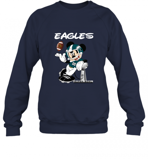 sq3t mickey eagles taking the super bowl trophy football sweatshirt 35 front navy
