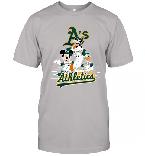 1eru oakland athletics mickey donald and goofy baseball jersey t shirt 60 front ash