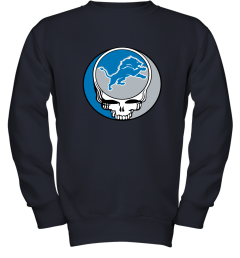 remn nfl team detroit lions x grateful dead youth sweatshirt 47 front navy