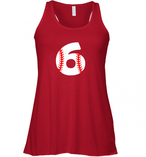 swor sixth birthday 6th baseball shirtnumber 6 born in 2013 flowy tank 32 front red