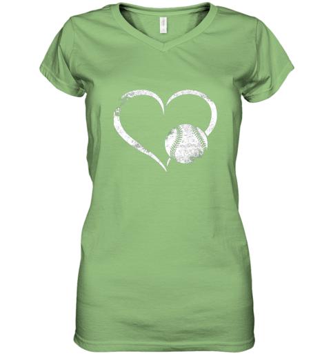 x7oe i love baseballl funny baseball lover heartbeat women v neck t shirt 39 front lime