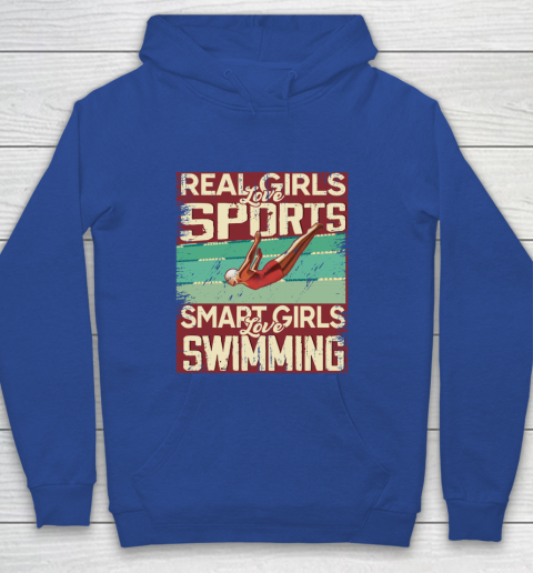 Real girls love sports smart girls love swimming Youth Hoodie 6