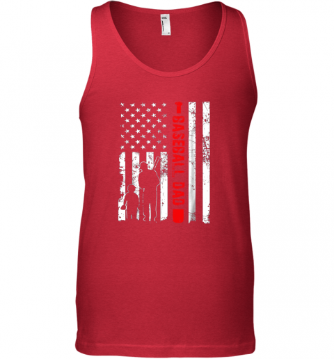 jaqx mens proud baseball dad american flag sports unisex tank 17 front red